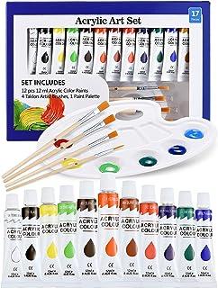 ATMOKO Peinture Acrylique 17PCS, Kit de Peinture 12x12 ML, 4 Pinceaux, 1 Palette, Facile pour Toile, Bois, Céramique, Tiss...