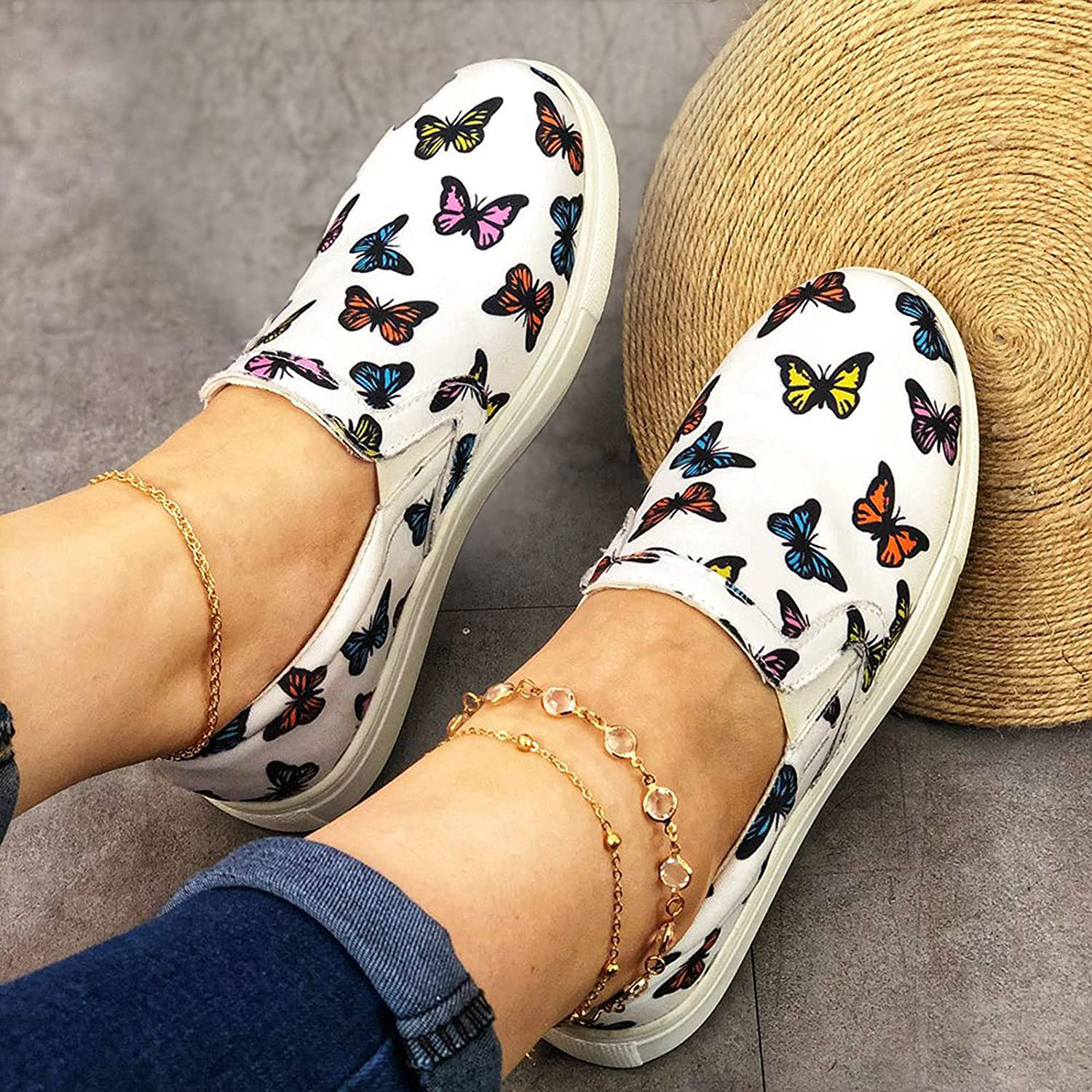 ZBRO Women's Flats Butterfly Pattern Walking Limited time trial price Loafers Sales results No. 1 and Canvas