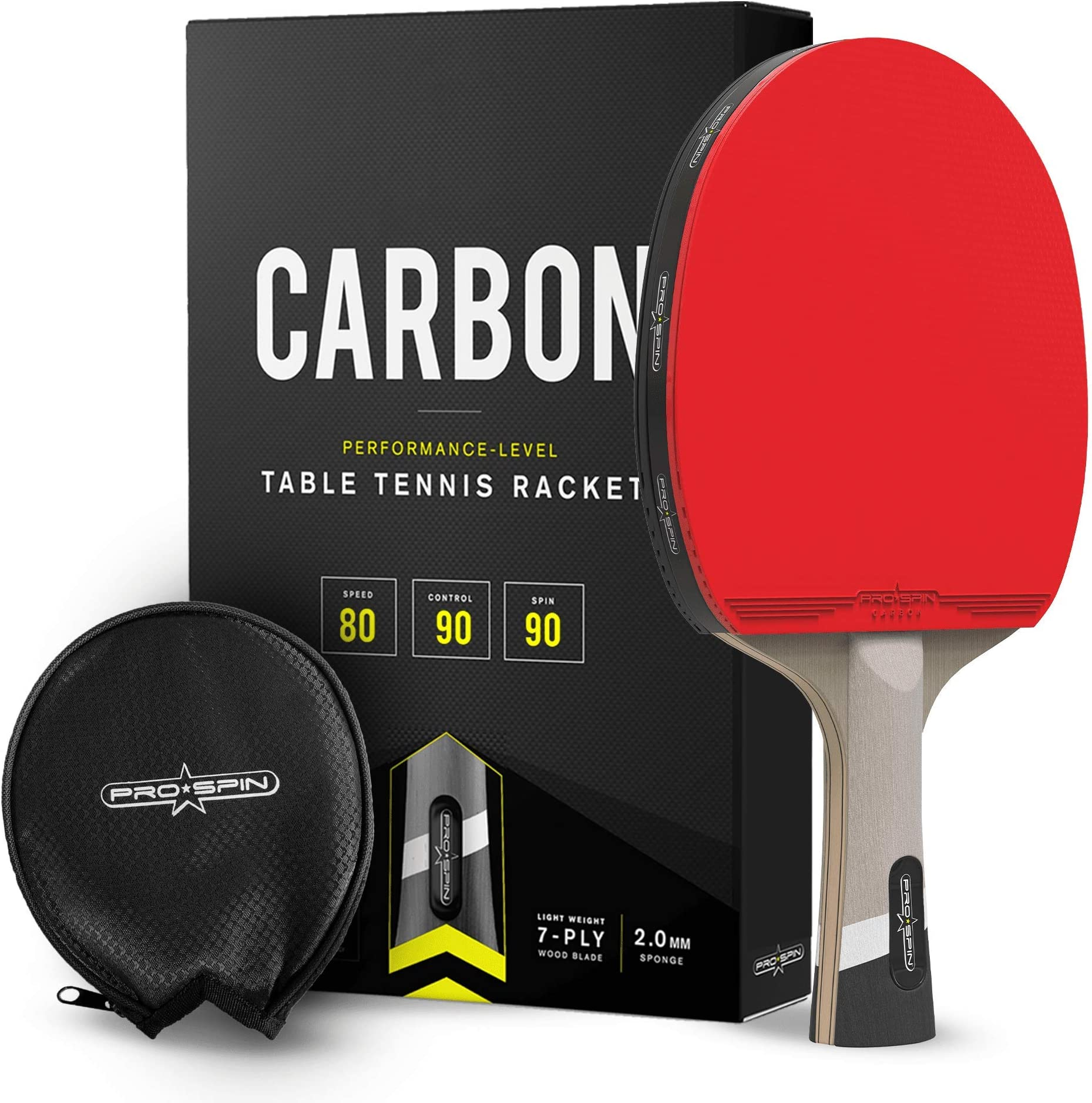 PRO SPIN Ping Pong Paddle with Carbon Fiber   7-Ply Blade, Offensive Rubber, 2.0mm Sponge, Premium Rubber Protector Case   Improve Your Game with The Elite Series Carbon Table Tennis Racket