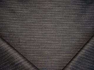 143RT13 - Jet Black / Beige Textured Pinstripe Strie Designer Upholstery Drapery Fabric - By the Yard
