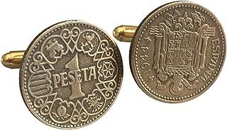 Authentic 1 Peseta Spanish Spain Coin Cufflinks