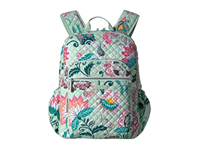 Vera Bradley Iconic Campus Backpack (Mint Flowers) Backpack Bags