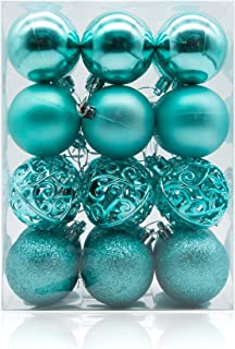AMS 60mm/24ct Christmas Ball Pierced Trees Pendant Shatterproof Ball Ornament Seasonal Decorations Ideal for Xmas, Holiday and Party Widgets (2.36