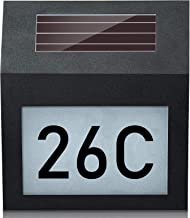 Hengda Solar beleuchtete Hausnummer mit Lampe Solar Hausnummer LED beleuchtet Solarleuchte mit Dämmerungsschalter Edelstah...