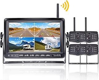 AMTIFO A4 HD 1080P Digital Wireless 4 Backup Cameras with 7'' Monitor Kit Split Screen for RVs/Trailers/5th Wheels/Motorhomes,Highway Monitoring System IP69K Waterproof Super Night Vision