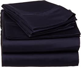 530 Thread Count, 100% Premium Combed Cotton, Single Ply, Twin 3-Piece Sheet Set, Solid, Navy Blue