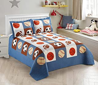 Mk Collection 2 Pc Bedspread Boys Sport Football Basketball Baseball Twin / Twin Extra..
