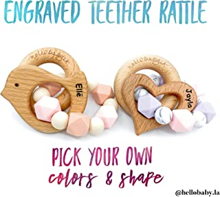 ENGRAVED Personalized & Customized Animal Teether Rattle (Choose Your Colors/Animal!) Bird Elephant Camera Heart Bunny Fish Whale Hedgehog Giraffe Star Boy Girl Gender Neutral Baby Teething Gift