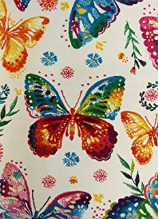"""KC Cubs Boy and Girl Bedroom Modern Decor Area Rug and Carpet Collection for Kids and Children Multicolor Rainbow Butterfly (5' 3"""" x 7' 3"""")"""