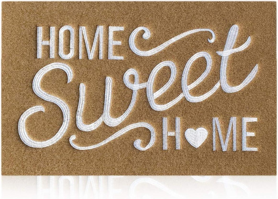 AAZZKANG Brown Welcome Mats for Front Door Home Sweet Home Door Mat Outdoor Indoor with Non Slip Rubber Backing Ultra Absorb Mud Easy Clean Heavy Duty Doormat