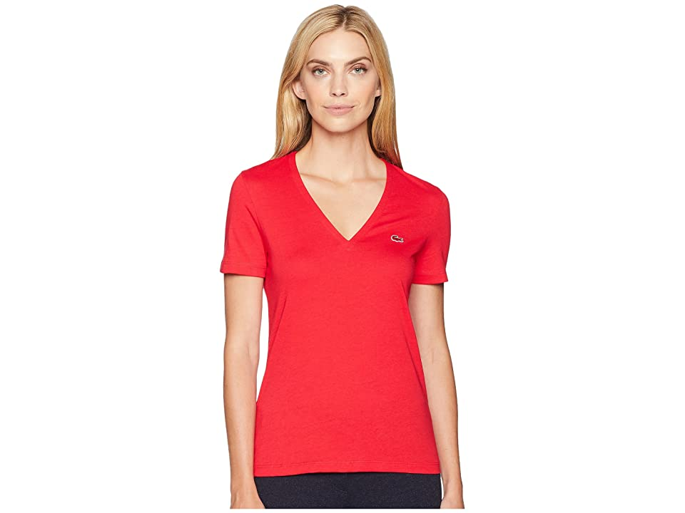 Lacoste Short Sleeve Solid V-Neck Jersey Tee (Imperial Red) Women