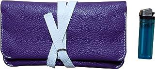 Astuccio porta tabacco custodia grande in vera pelle pregiata e riciclata bicolor col. Viola e Bianco fatto a mano in Ital...