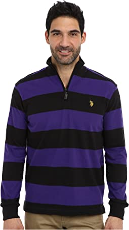Striped Rib Mock Neck 1/4 Zip Pullover