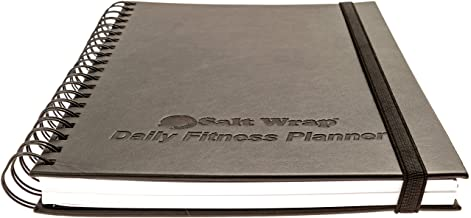 SaltWrap Daily Fitness Planner - Gym Workout Training Log, Weightlifting Exercise Journal, and Food/Diet Tracker - Daily a...