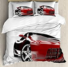 Ambesonne Teen Room Duvet Cover Set, Modern Automotive Vivid Toned Car Back View Prestige Passion Image, Decorative 3 Piece Bedding Set with 2 Pillow Shams, King Size, Black Ruby