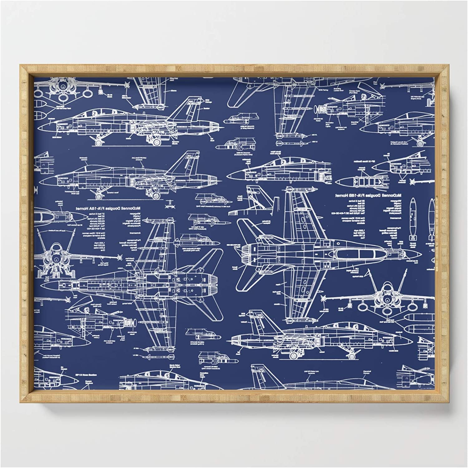 F-18 Blueprints by 40% OFF Max 46% OFF Cheap Sale Thin Line Studio on 17 x - Serving Tray 22.5