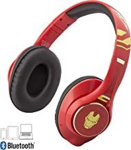 Iron Man Bluetooth Headphones with Microphone Voice Activation and Bonus Aux Cable (Iron Man)