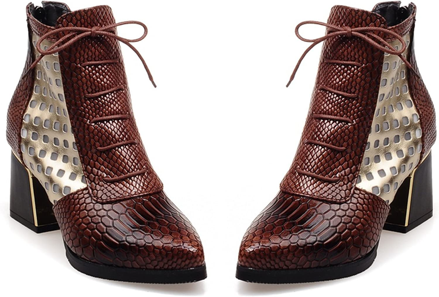 CHENSIR9 Ankle Boot Snake Print Cross Tie Hoof High Heels Short Boots Pointed Toe Spring Boots shoes