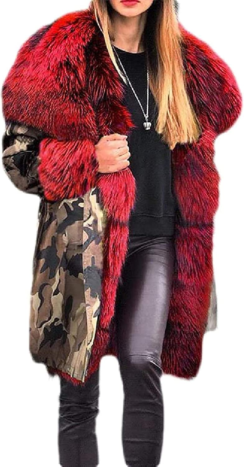 Womens Trenchcoat Hoodie Thicken Loose Fit Faux Fur Collar Parka Coat Jacket Outwear