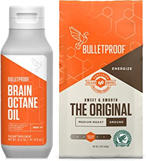 Sponsored Ad - Bulletproof Original Medium Roast Ground Coffee and Brain Octane C8 MCT Oil Kit, Keto Friendly, Vegan, Grou...