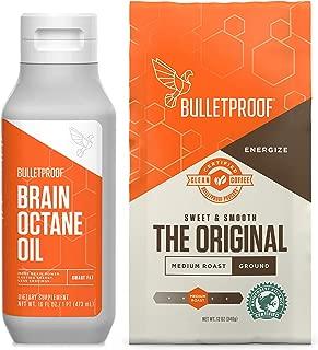 Bulletproof Original 12oz Ground Coffee & 16oz Brain Octane MCT Oil Bundle kit - Perfect for Keto and Paleo Diet, 100% Non-GMO Gourmet Organic Beans, Responsibly Sourced Premium C8 Oil (Ground)
