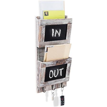 Organizer Rack with 4 Key Hooks MyGift Whitewash Gray Wood Wall-Mounted 2 Slot Mail Sorter