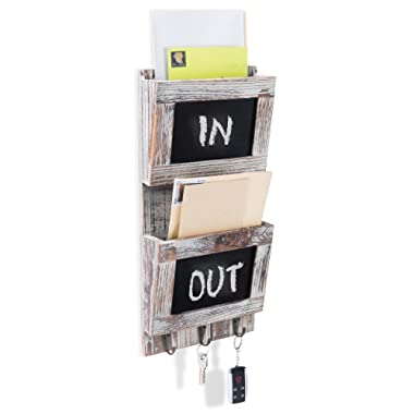 MyGift Rustic Wood Wall-Mounted 2-Slot Mail Sorter Organizer with Chalkboard Surface & 3 Key Hook Rack