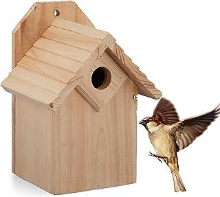 Relaxdays Nichoir pour Oiseaux, à accrocher, Bois Non traité, Trou d'envol de 32 mm, HLP: 25x19x16 cm, Nature