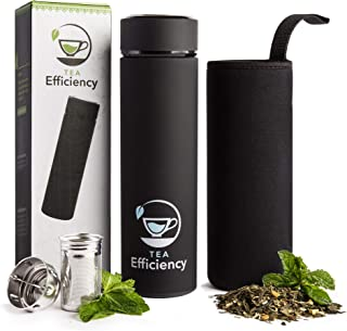 Tea Efficiency Tea Tumbler/Travel Tea Mug with Strainer – Loose Leaf Tea Infuser Bottle – Fruit Infused Flask – Double Wall Insulated Stainless Steel Cold brew coffee thermos (Black)