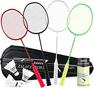 Super Light Badminton Rackets Badminton Racquets Set with Wrapped Overgrip, Zalava Badminton Set of 4/2 Pack,Carbon Fiber, Carrying Bag Included,for Beginners and Advanced Players