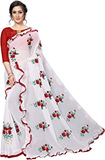 Shiroya Brothers Women's Embroidered Ruffle Georgette Saree with Blouse Piece