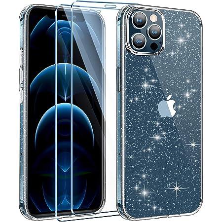 AROYI Coque Compatible avec iPhone 12 et 12 Pro Coque Glitter Transparent Paillette Housse Etui avec 2 Pièces Verre trempé