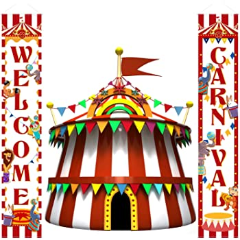 Yongfoto 5x3ft Cartoon Children Amusement Park Backdrop Circus Tent Photography Background Ticket Ferris Wheel Carousel Roller Coaster Kids Boy Girl 1st Birthday Party Banner Portrait Studio Props Banners