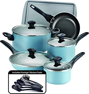Farberware 21894 Dishwasher Safe Nonstick Cookware Pots and Pans Set, 15 Piece, Aqua