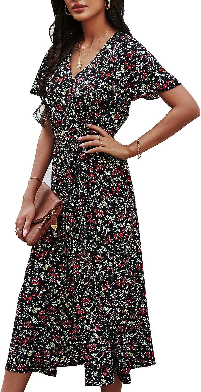 Women Floral Maxi Dress Summer Large-scale sale Boho Short V Sleeve Beach N Great interest