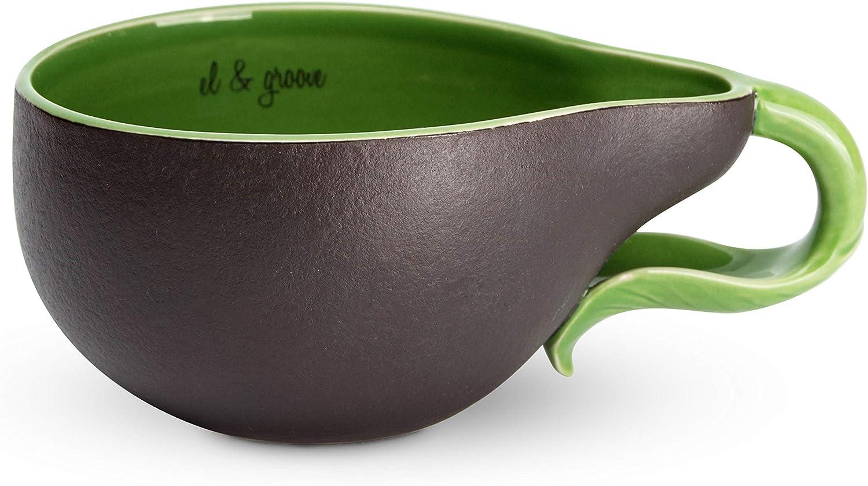 el & groove Taza de Aguacate Verde Grande en 3D, Taza de té de 250 ml (350 ml Llena hasta el Borde), Taza de café de Porcelana en Verde Negro, decoración de Aguacate, Regalo