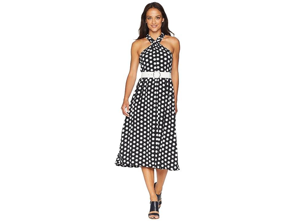 MICHAEL Michael Kors Dot Deluxe Halter Dress (Black/White) Women
