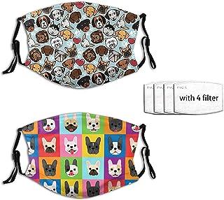 2pcs Dog-Animal Face Mask With 4 Filter Washable Face Balaclava Windproof Dustproof Adjustable Mask Unisex