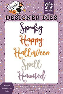 Echo Park Paper Company BE166042 Haunted Halloween Word Die Set Papel, Morado, Amarillo, Negro, Naranja