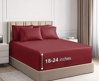 Extra Deep Pocket Sheets - 6 Piece Sheet Set - Cal King Size Sheets Deep Pocket - Extra Deep Bed Sheets - Deep California ...