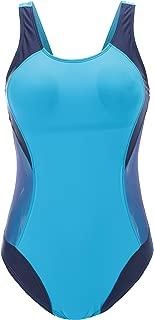 Women's Athletic Color Block One Piece Swimwear Bathing Suit