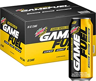 Mountain Dew AMP GAME FUEL, Charged Tropical Strike, 16 fl oz. cans (12 Pack)