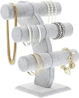 Soporte de Terciopelo para Joyería, con barras en forma de T - Organizador de joyería de 3 niveles - Gris, 30,5 cm x 24,1 ...