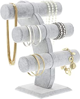 Jewelry Velvet Display T-Bar Stand - Bracelet Holder 3 Tier Jewelry Store Display, Jewelry Organizer for Watches, Bracelets, Necklaces, Decorative Chains - Grey, 12 x 9.5 x 5.5 Inches