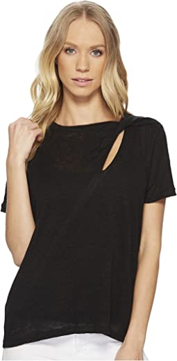 Short Sleeve Knit Tee with Cut Out