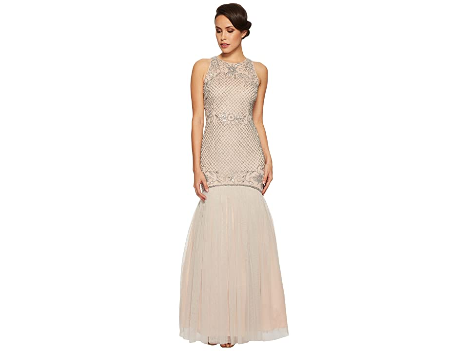 Adrianna Papell Beaded Trumpet Gown (Silver/Nude) Women