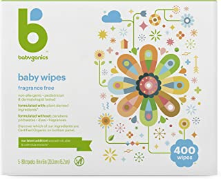 Baby Wipes, Babyganics Unscented Diaper Wipes , 400 Count, (5 Packs of 80), Non-Allergenic and formulated with Plant Deriv...