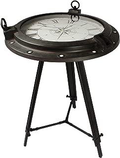 Urban Designs Industrial Porthole Metal Round Clock Coffee & End Table, Brown
