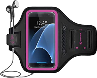 Galaxy S7 Armband - LOVPHONE Easy Fitting Sport Running Exercise Gym Sportband with Key Holder & Card Slot,Water Resistant and Sweat-Proof for Samsung Galaxy S7 2016 Release.-Rosy