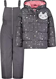 Carter's Baby Girls' 2-Piece Heavyweight Printed Snowsuit, Grey/Silver Stars, 18MO